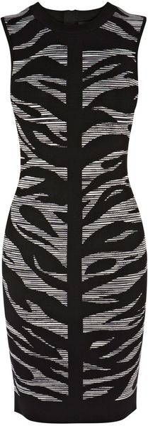 Karen Millen Zebra Jaquard Knit Dress - Lyst