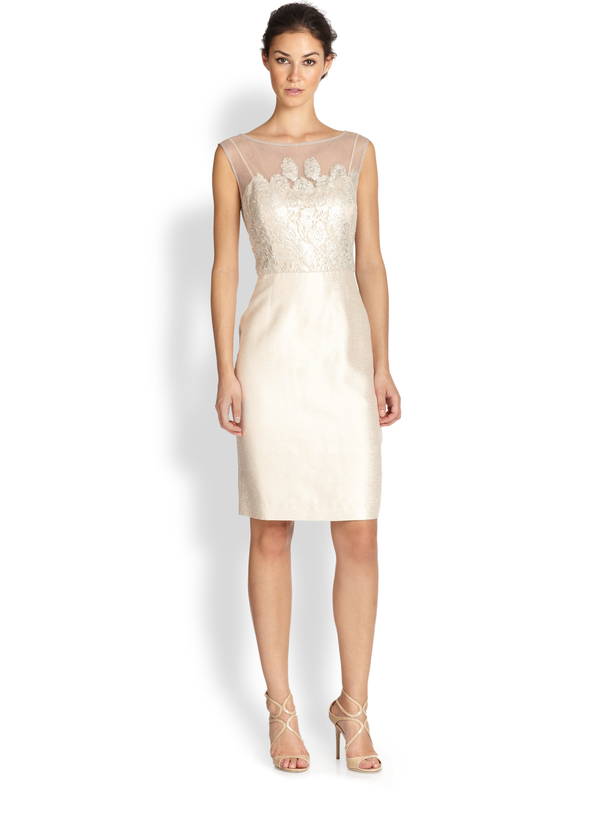 Lyst - Kay Unger Sleeveless Illusion Sheath Dress in White