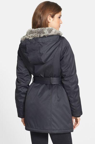 Kensie Belted Puffer Coat With Faux Fur Trim In Black Lyst