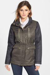 Kensie Colorblock Hooded Puffer Coat - Lyst