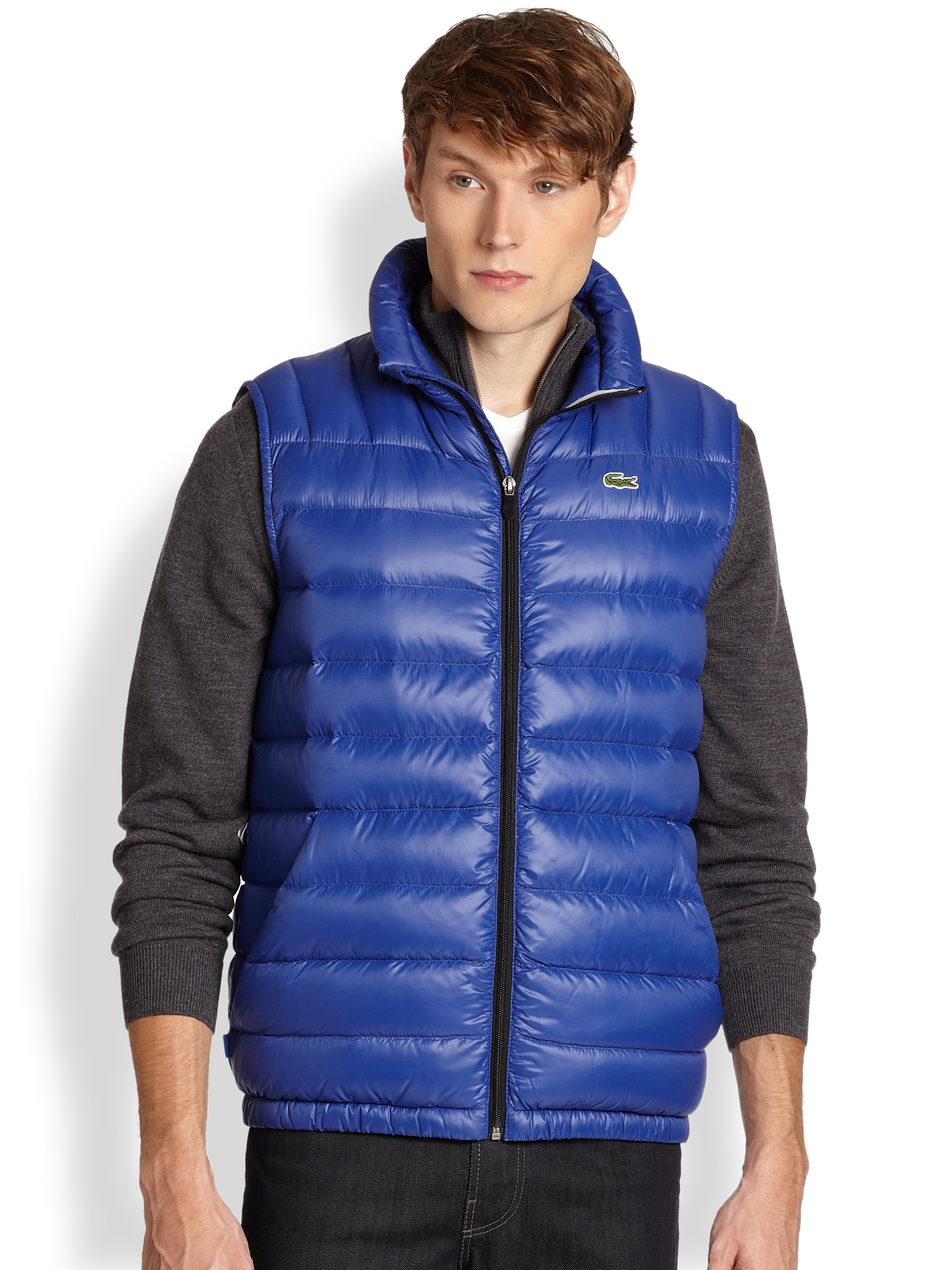 3f15c4d978ef Lyst - Lacoste Down Puffer Vest in Blue for Men