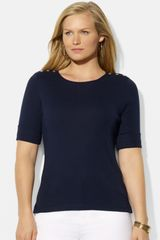 Lauren by Ralph Lauren Button Detail Cotton Top - Lyst