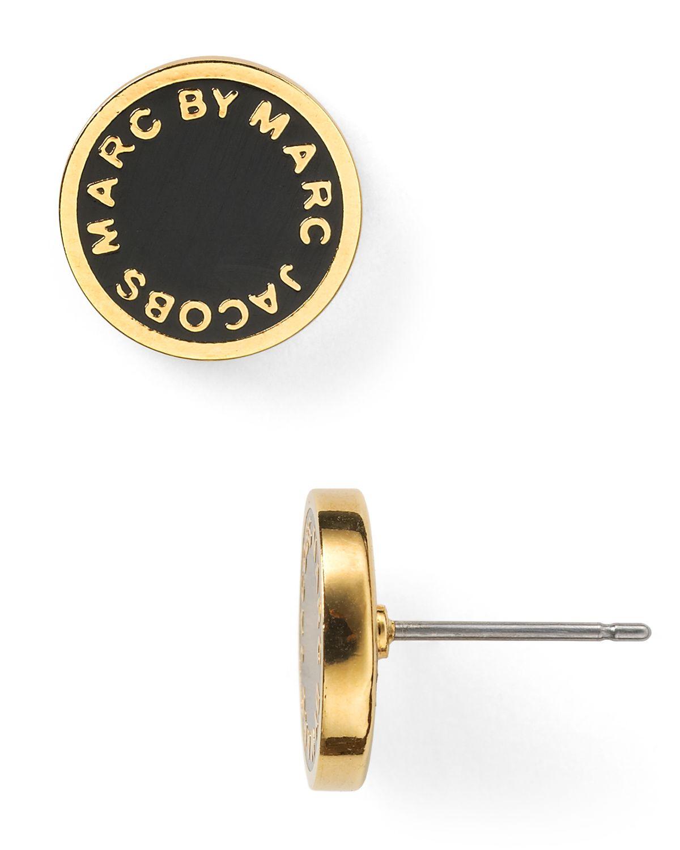 Lyst Marc By Marc Jacobs Logo Disc Stud Earrings In Black