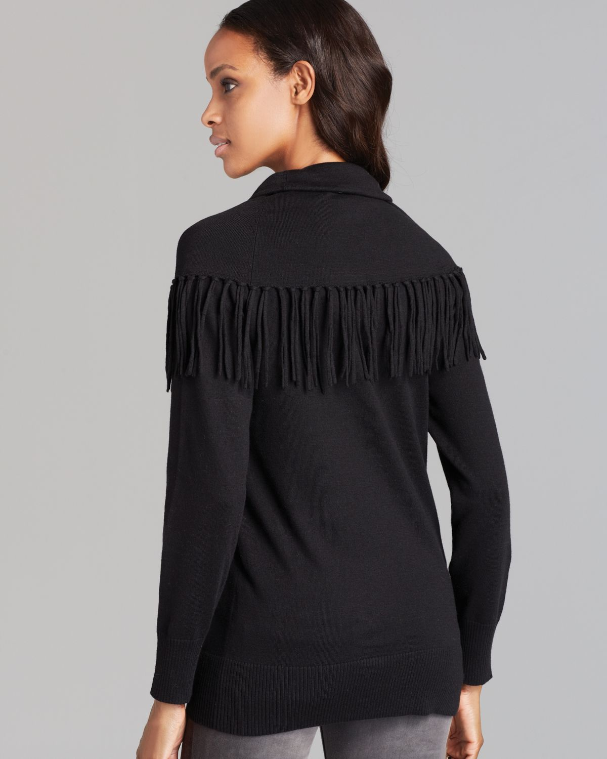 Michael michael kors Fringe Cowl Neck Sweater in Black | Lyst