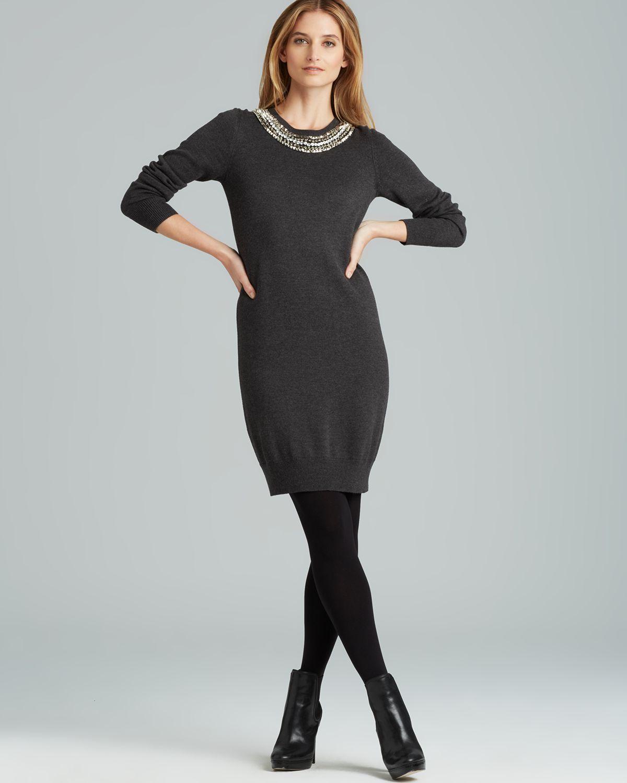 52ac583716 Lyst - MICHAEL Michael Kors Studded Neck Long Sleeve Dress in Black