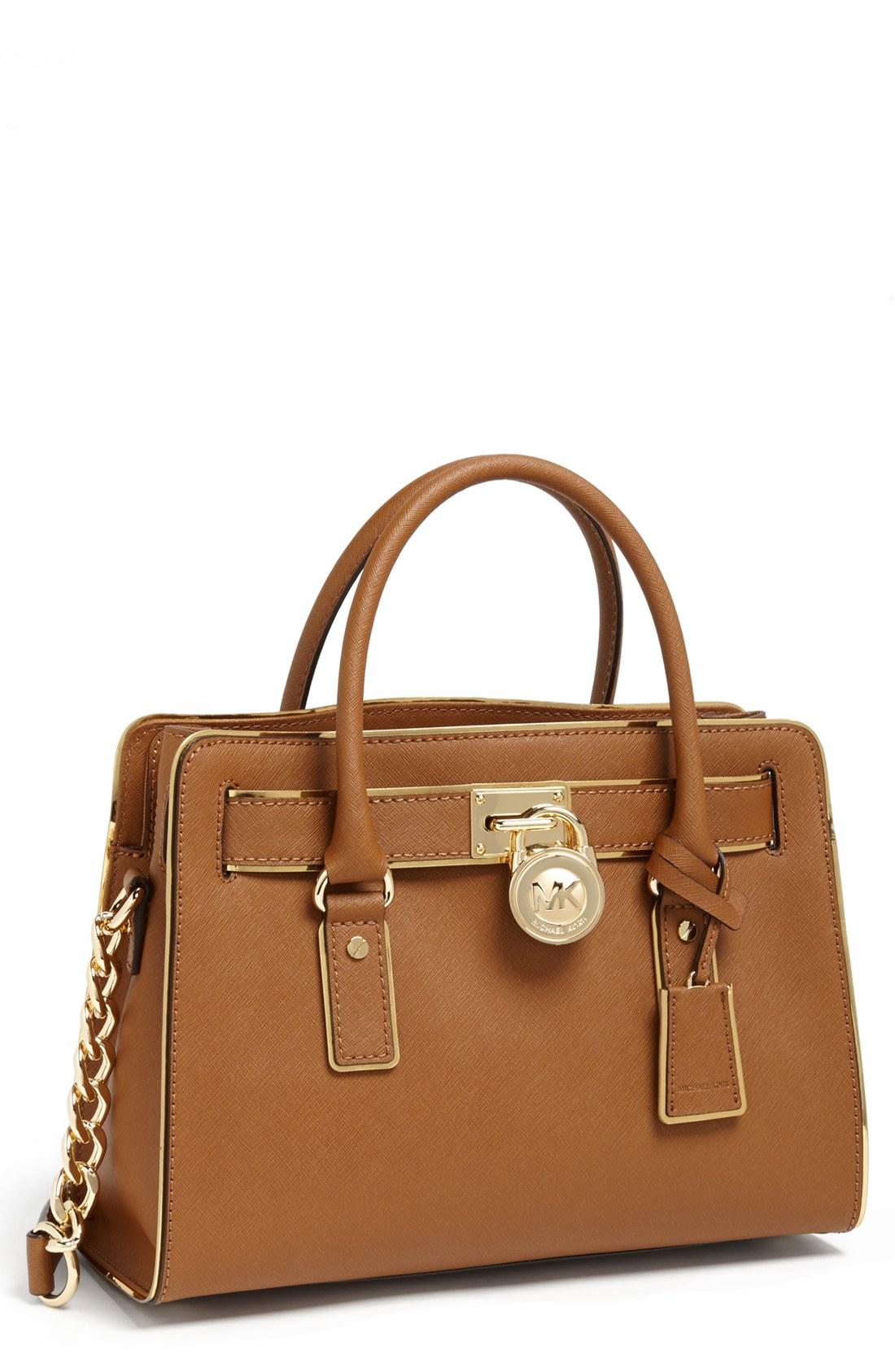 michael michael kors hamilton leather satchel in brown. Black Bedroom Furniture Sets. Home Design Ideas
