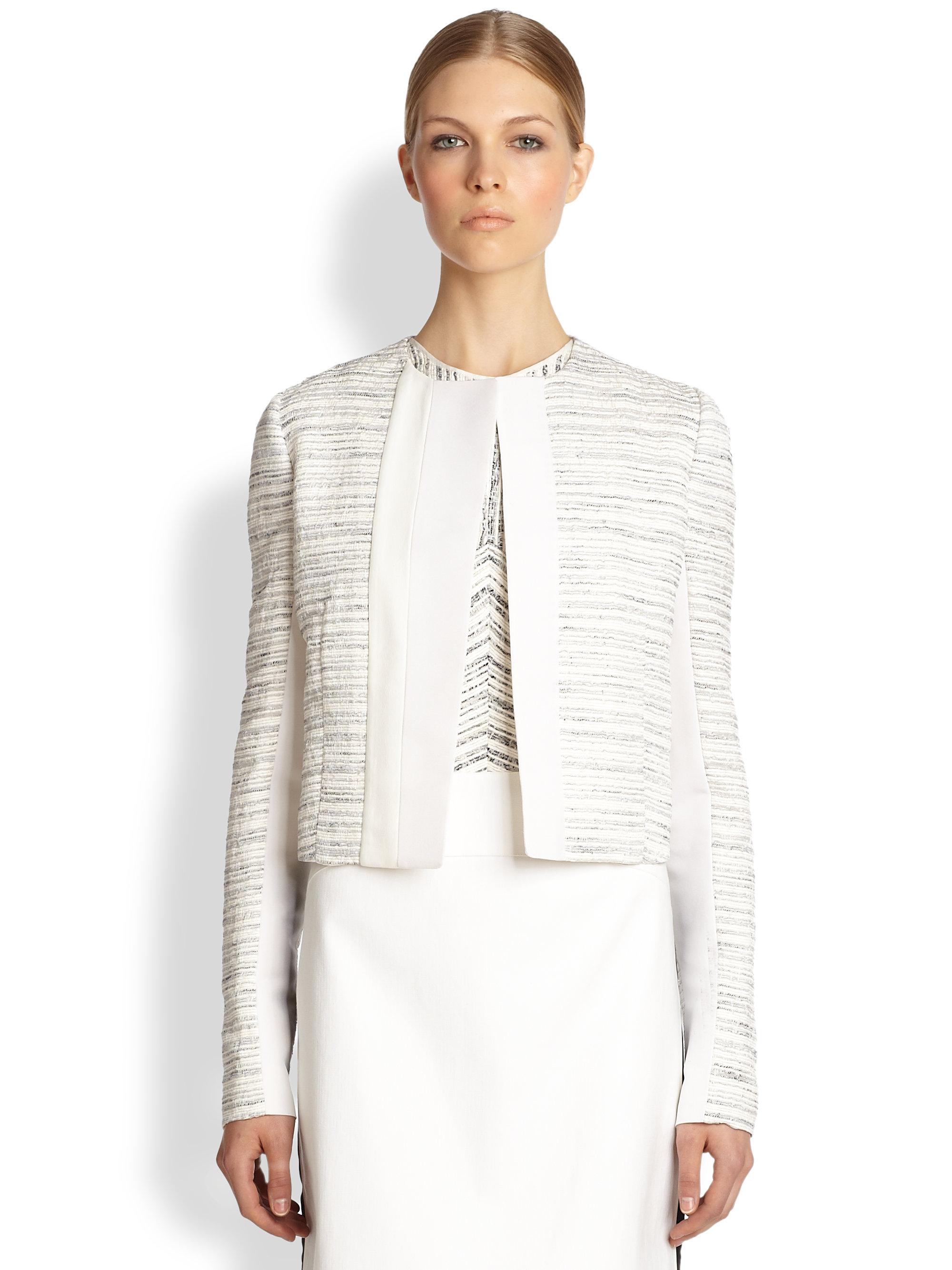 Narciso rodriguez Paneled Tweed Jacket in White | Lyst