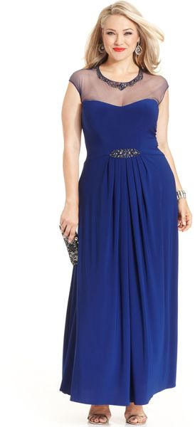 Patra Capsleeve Illusion Beaded Gown - Lyst