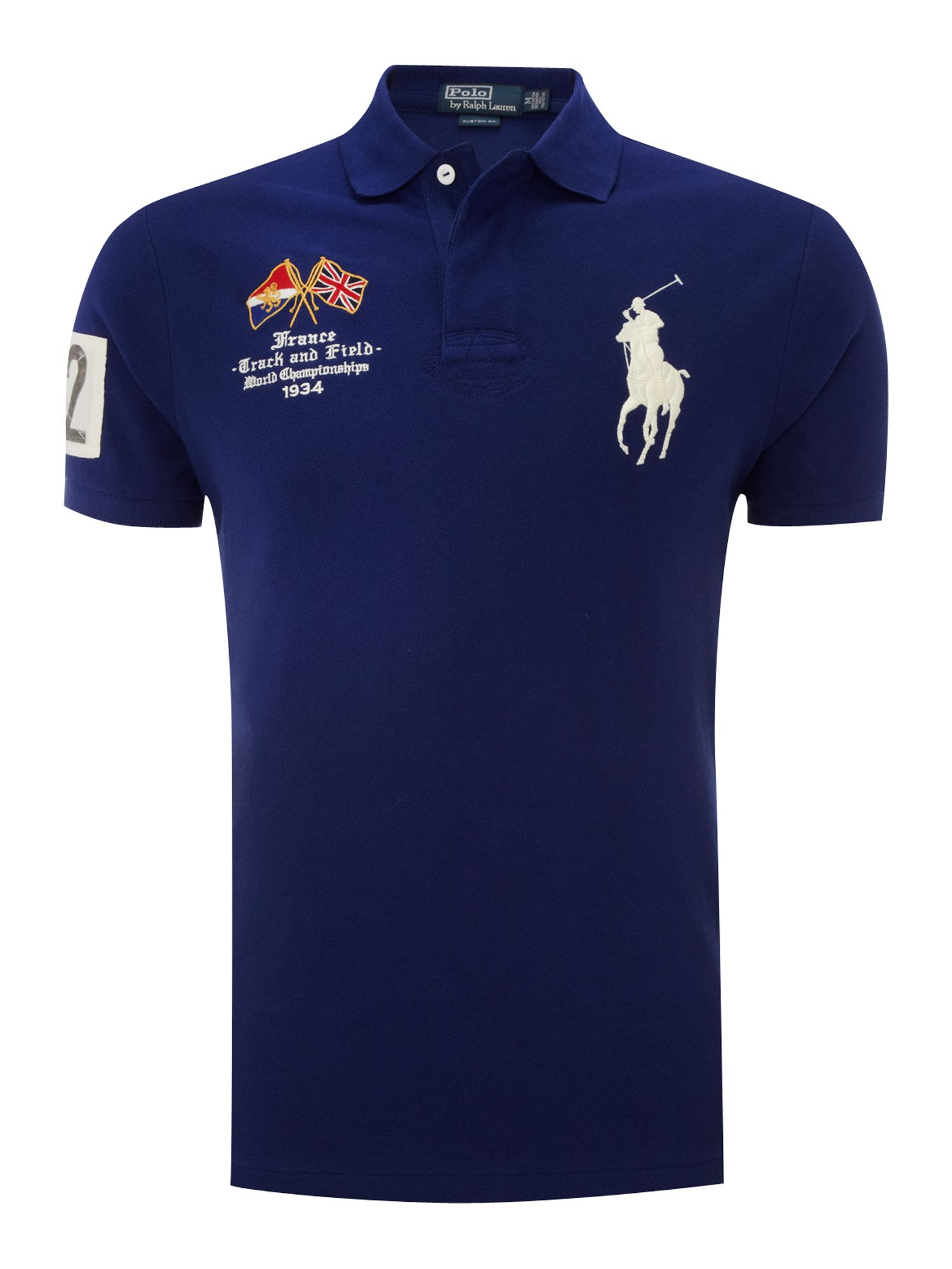 Polo Ralph Lauren France Custom Fitted Polo Shirt In Blue