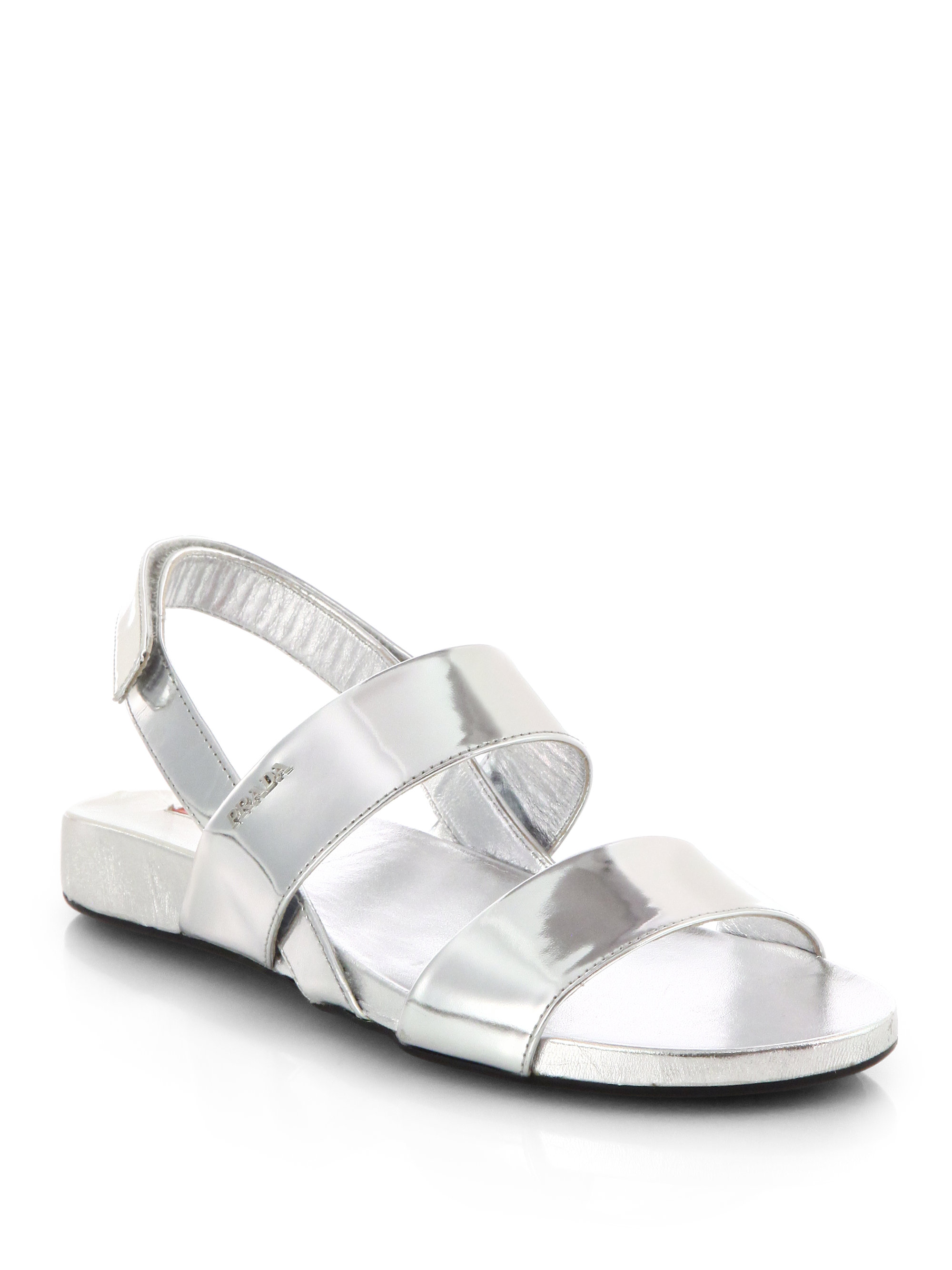 Prada Metallic Leather Doublestrap Sandals In Silver
