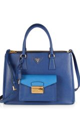 Prada Saffiano Lux Bicolor Top Handle Bag - Lyst
