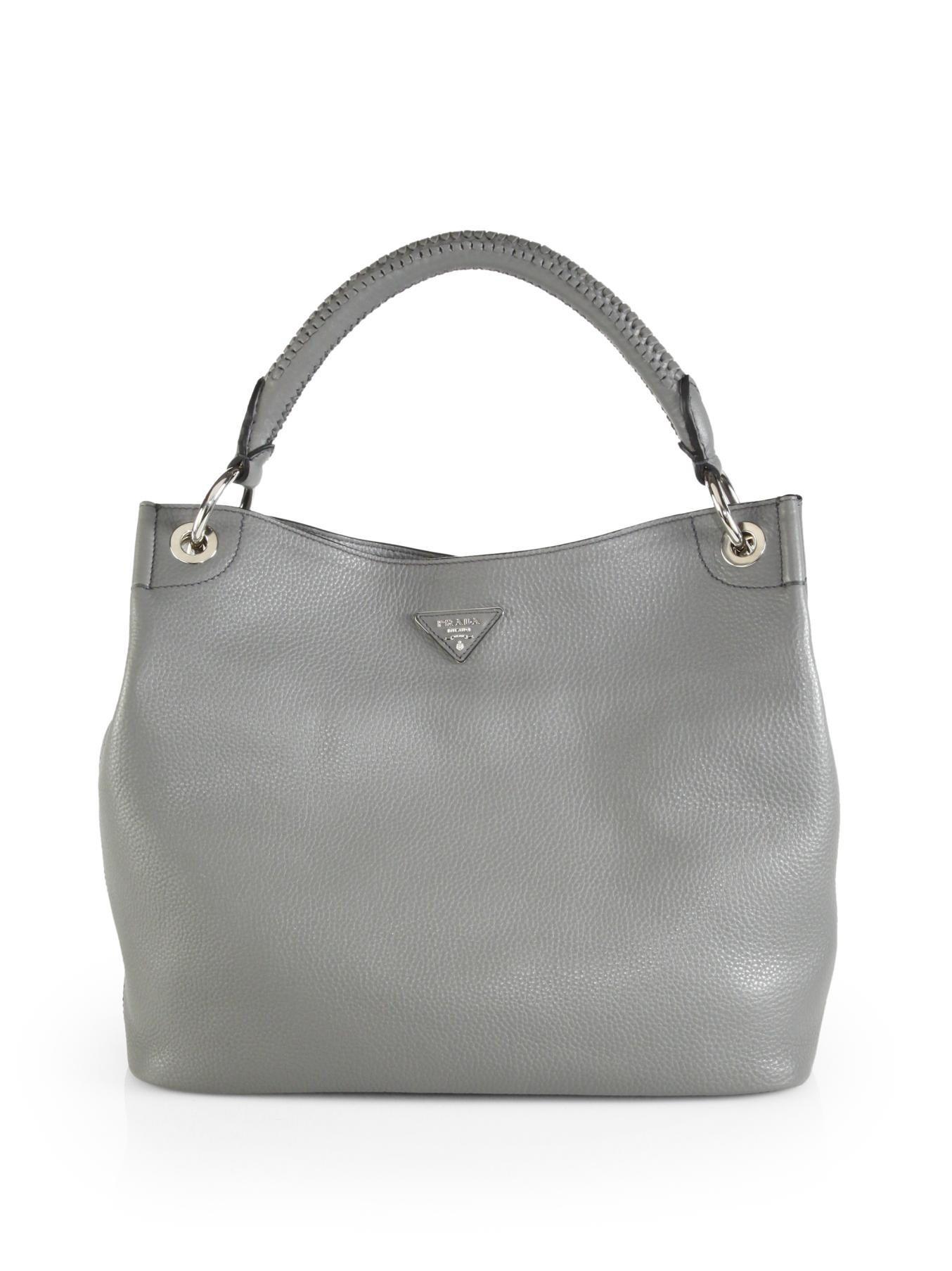 Lyst - Prada Vitello Daino Hobo Bag in Gray cf123bda96