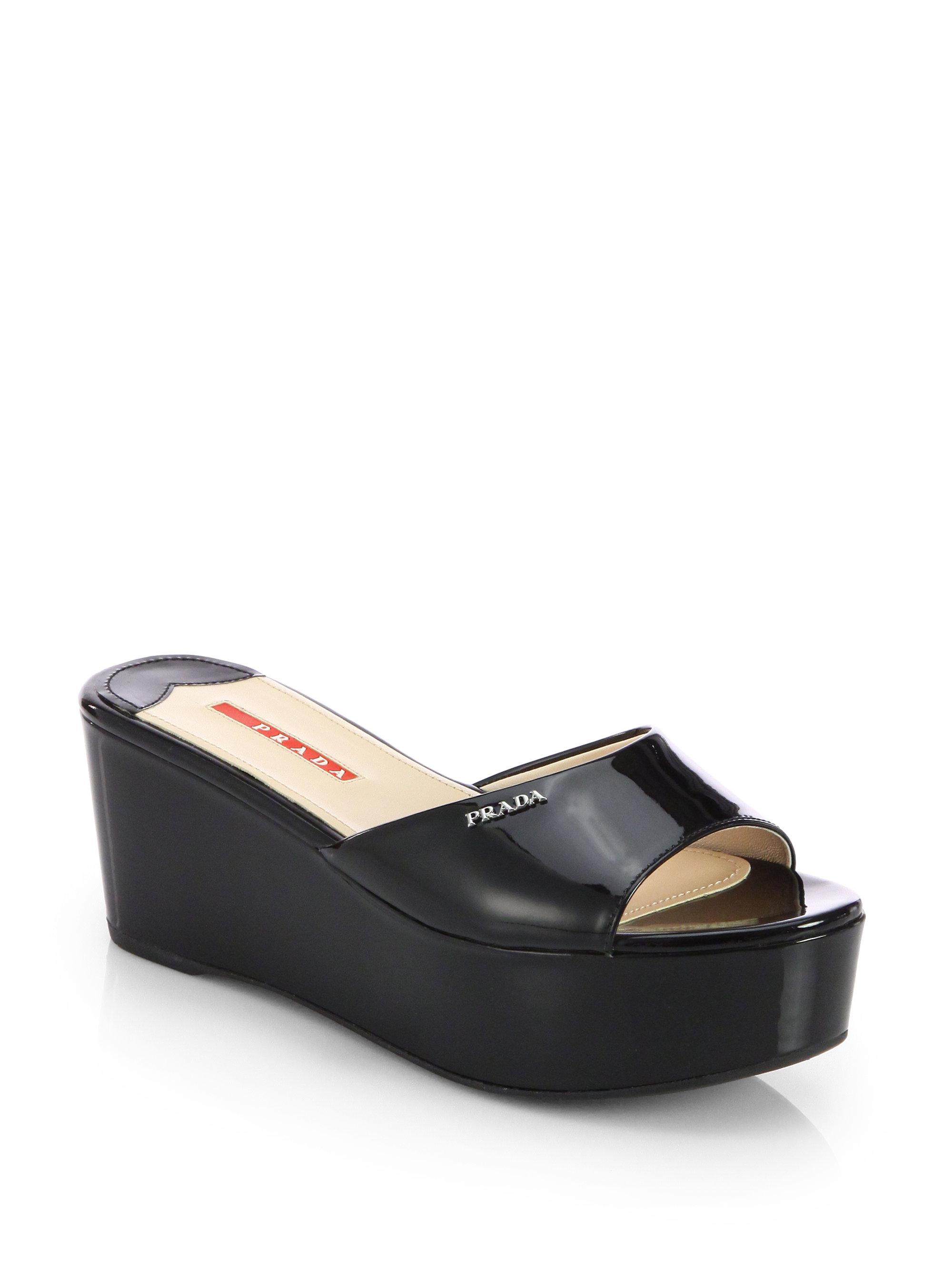 Lyst Prada Patent Leather Platform Slides In Black
