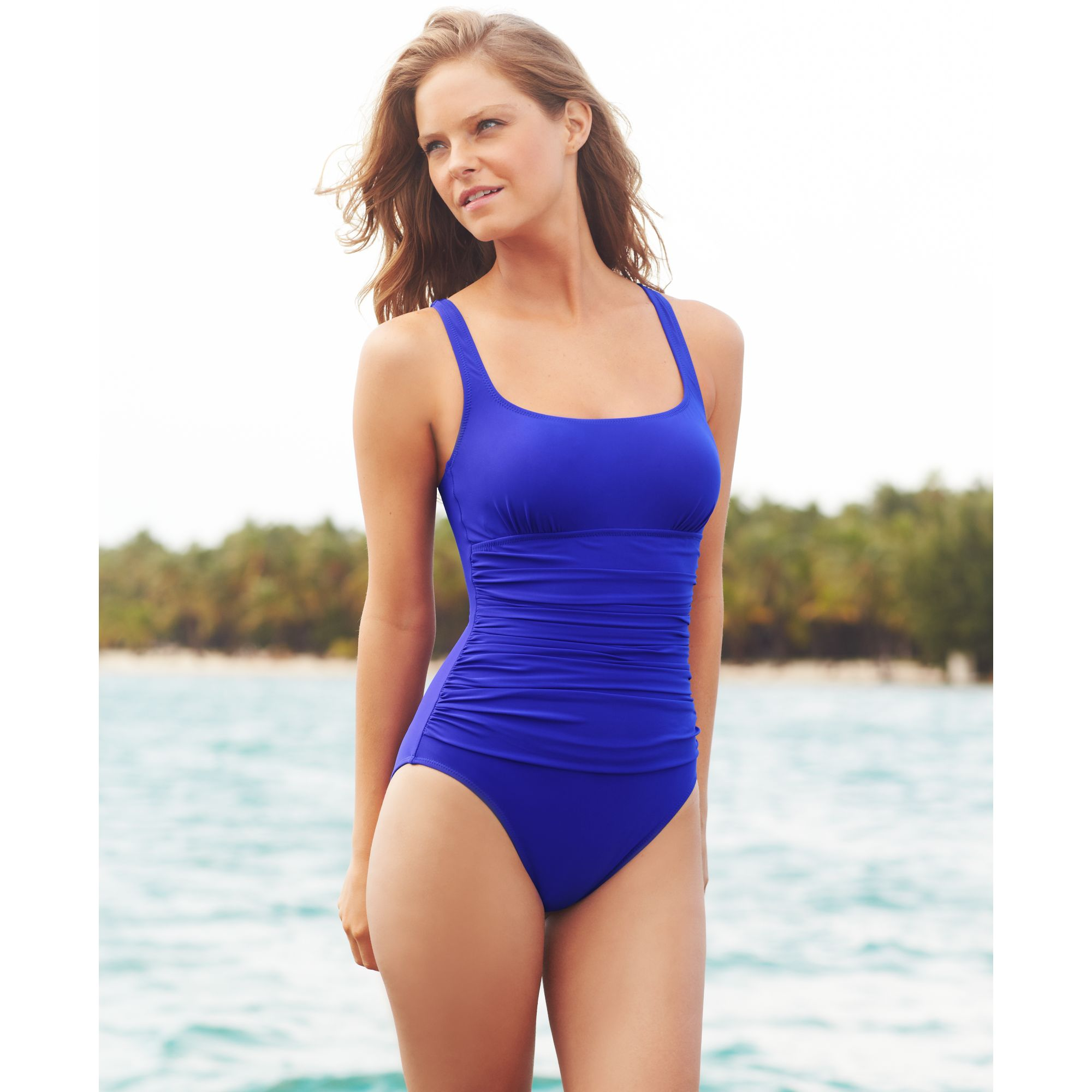 7583246fd7320 Lyst - Gottex Ruched One Piece Swimsuit in Blue