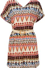 Pussycat Tribal Print Vneck Chiffon Smock Dress - Lyst