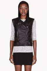 Rag & Bone Black Leather Biker Vest - Lyst
