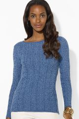 Ralph Lauren Lauren Bateau Neck Cable Knit Sweater - Lyst