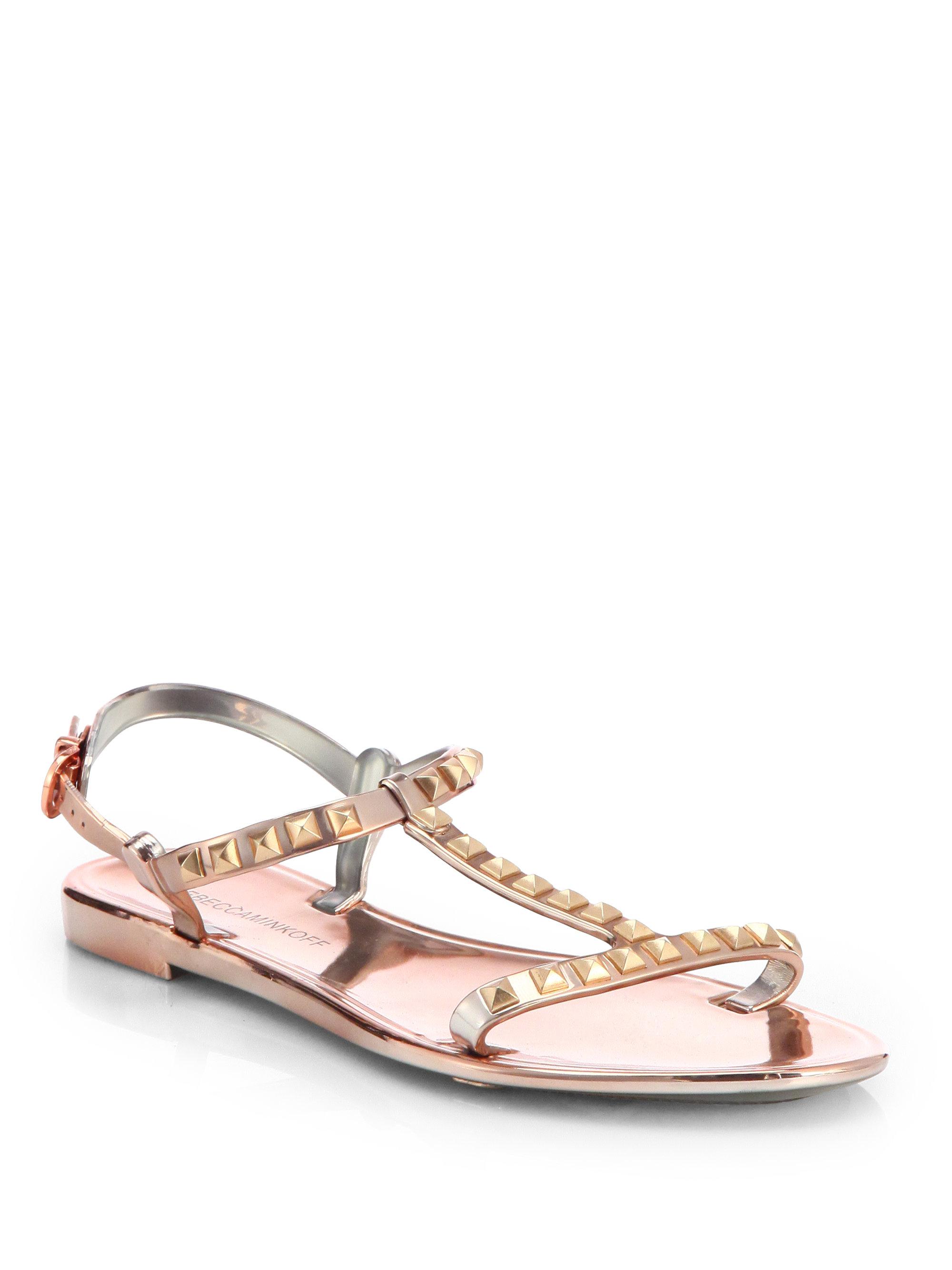 rebecca minkoff sava studded metallic jelly sandals in