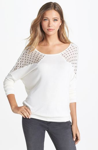 Three Dots Mixed Media Top - Lyst