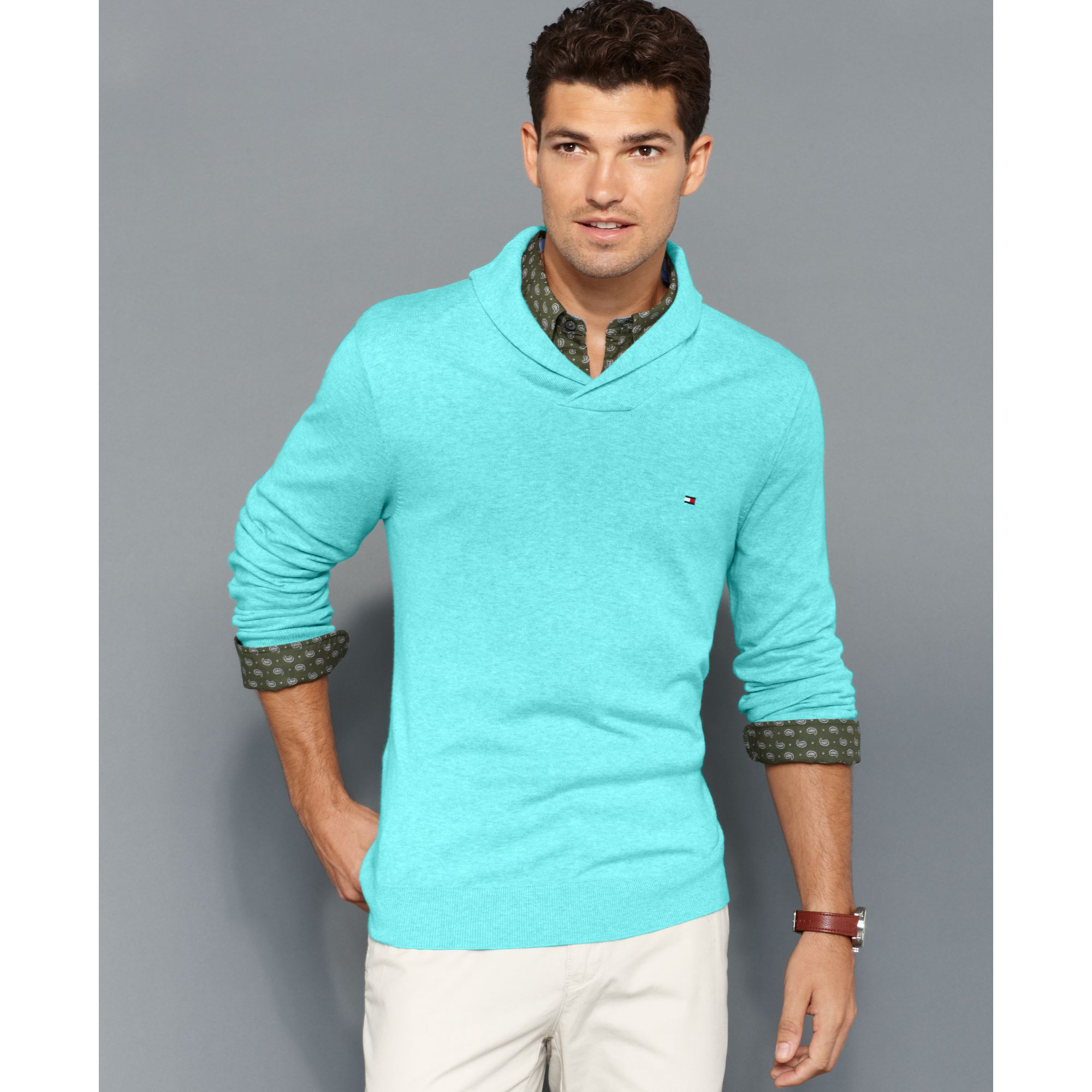 Tommy hilfiger Big and Tall American Shawl Collar Sweater in Blue ...
