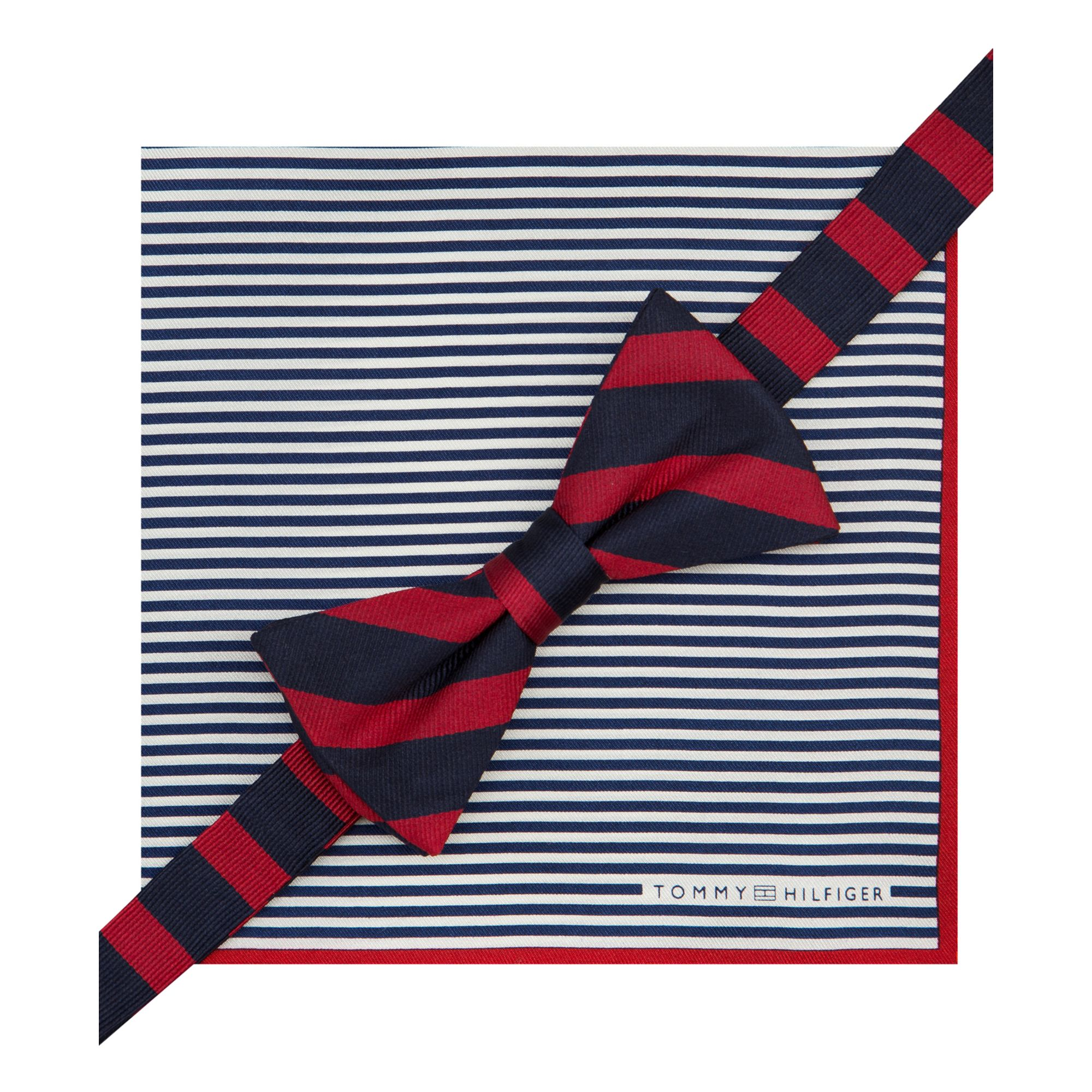 a31ab81a8571 Tommy Hilfiger Stripe Bow Tie Pocket Square Set in Blue for Men - Lyst