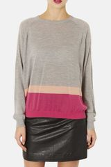 Topshop Color Block Merino Wool Sweater - Lyst
