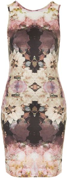 Topshop Mirror Bloom V Back Dress - Lyst