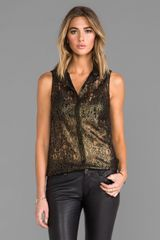 Torn By Ronny Kobo Ronit Shirt in Metallic Gold - Lyst