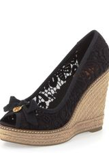 Tory Burch Jackie Lace Espadrille Wedge Black - Lyst