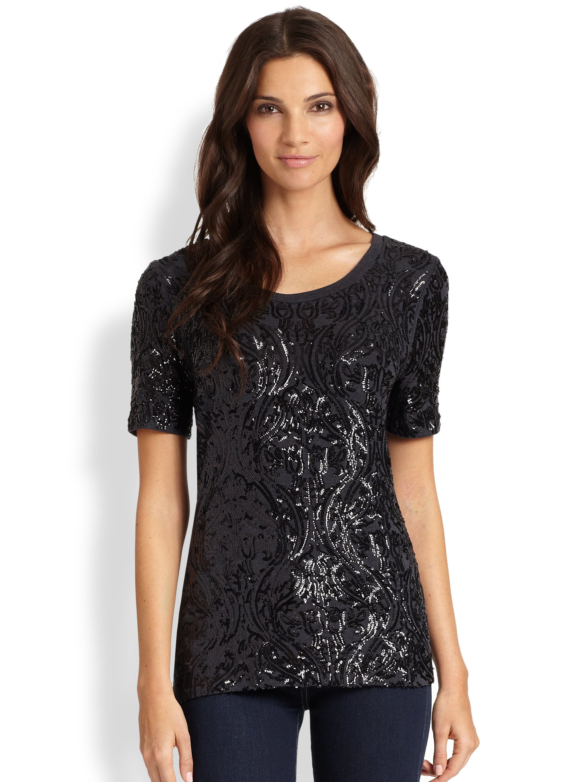 Lyst tory burch gillian sequin tee in black for Tory burch t shirt