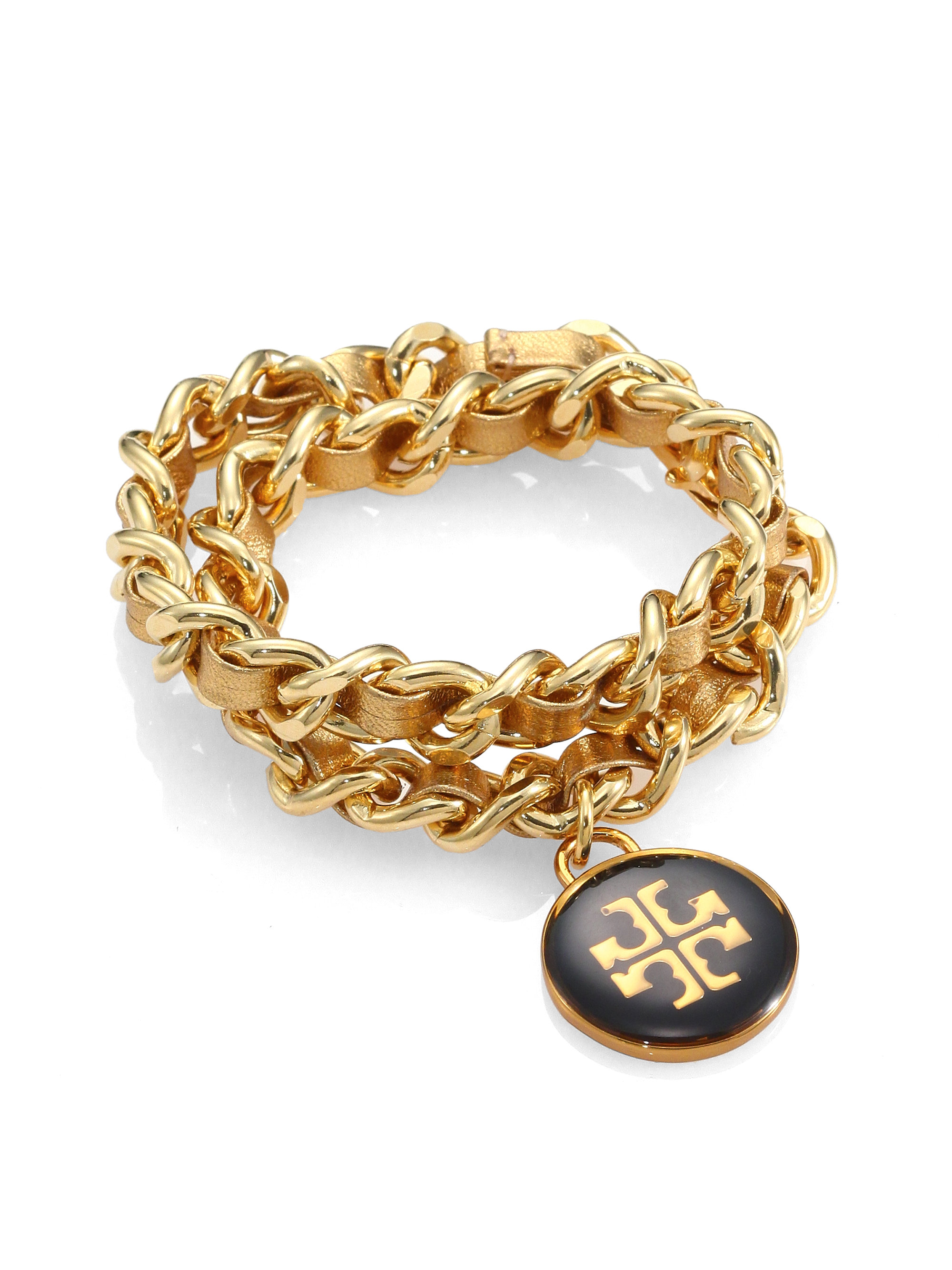 burch woven metallic leather chain logo bracelet in