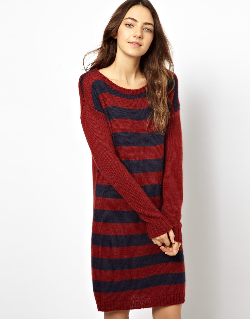 Ultimo Esprit Oversized Stripe Sweater Dress in Red | Lyst