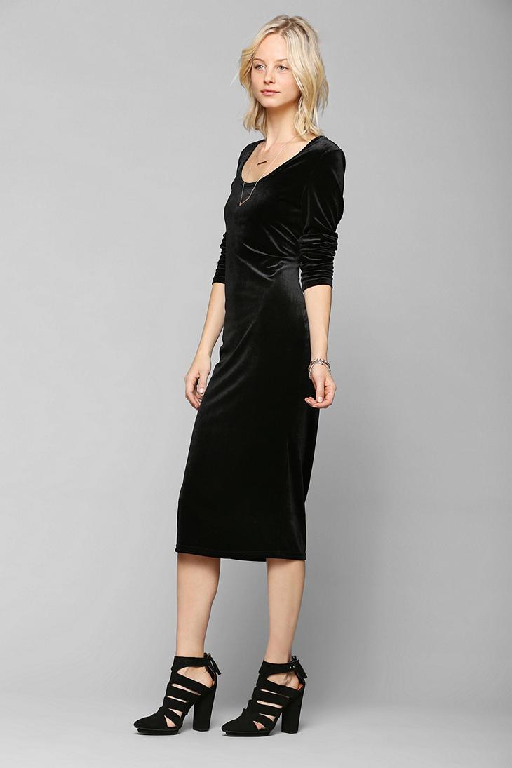 Lyst - Urban Outfitters Glamorous Long Sleeve Velvet Midi
