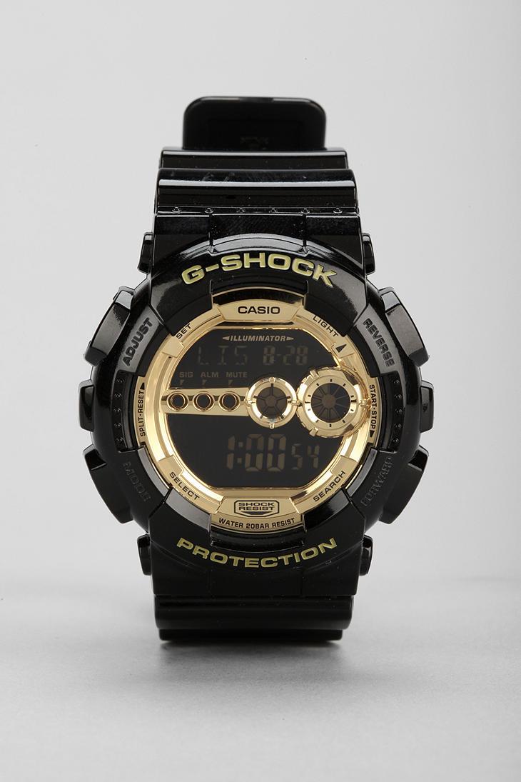 g shock gd 100 black gold in black lyst