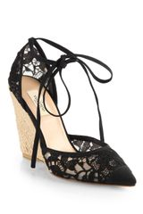 Valentino Lace Tieup Espadrille Wedge Sandals - Lyst