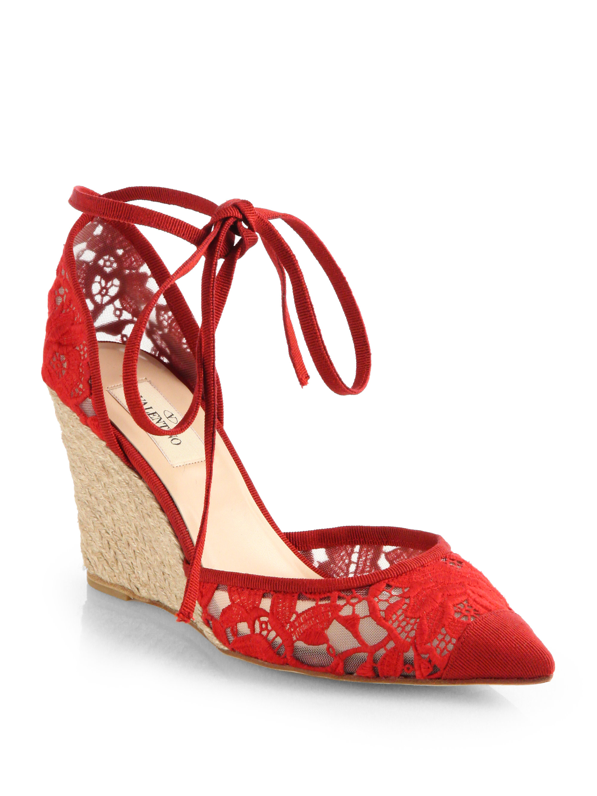 Valentino Lace Tieup Espadrille Wedge Sandals In Red Lyst