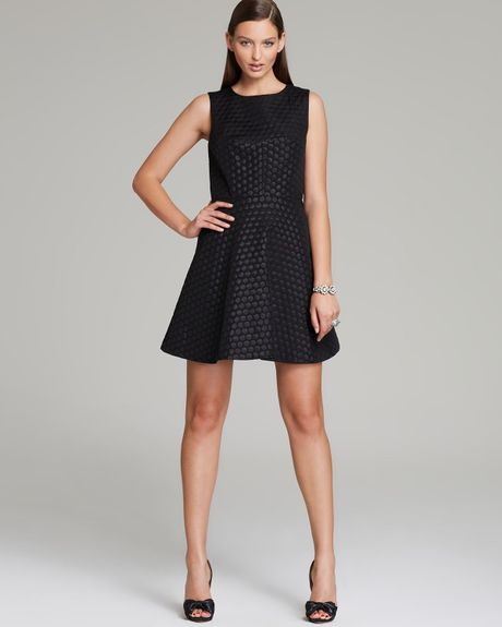 Vince Camuto Sleeveless Dot Party Dress In Black Rich