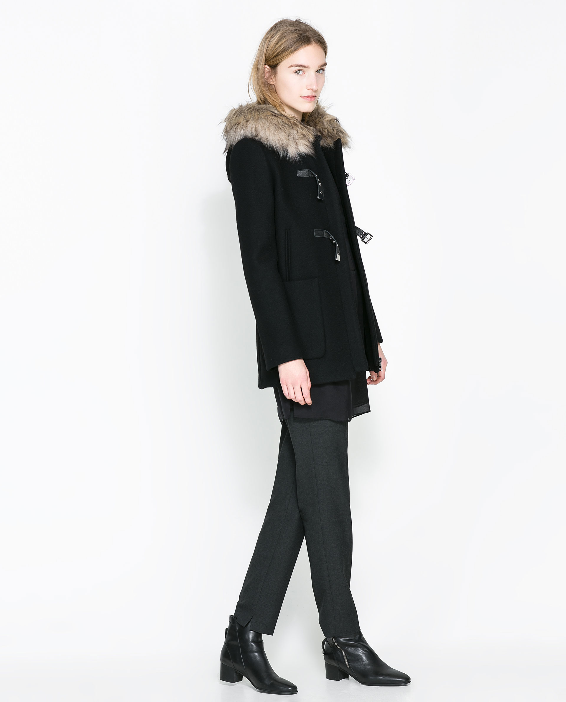 Zara Duffle Coat with Fur Hood in Black | Lyst