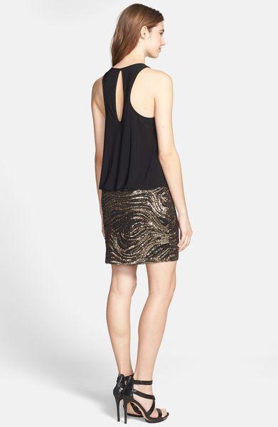 Aidan Mattox Sleeveless Sequin Skirt Dress In Gold Black