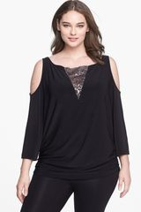 Alex Evenings Lace Inset Cold Shoulder Jersey Blouse - Lyst