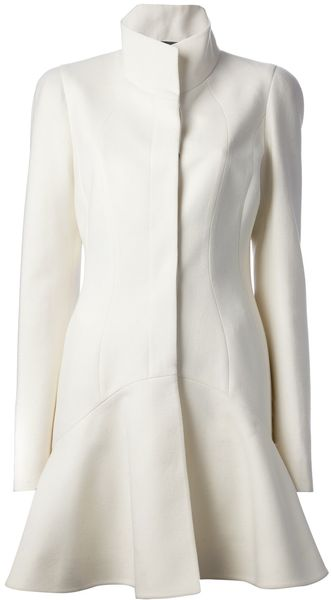 Alexander McQueen Flared Funnel Neck Coat - Lyst