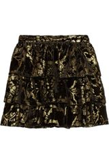 Alice + Olivia Desiree Damask velvet Mini Skirt - Lyst
