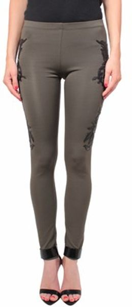Amen Jersey Leggings With Ecoleather Patch - Lyst