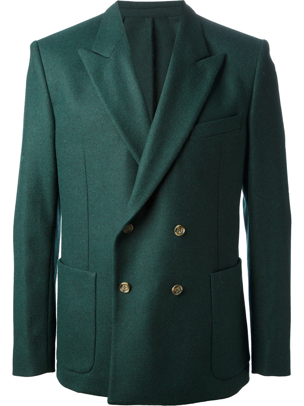 ami double breasted blazer in green for men lyst