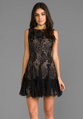 Anna Sui Floral Embroidered Mini Dress in Black - Lyst