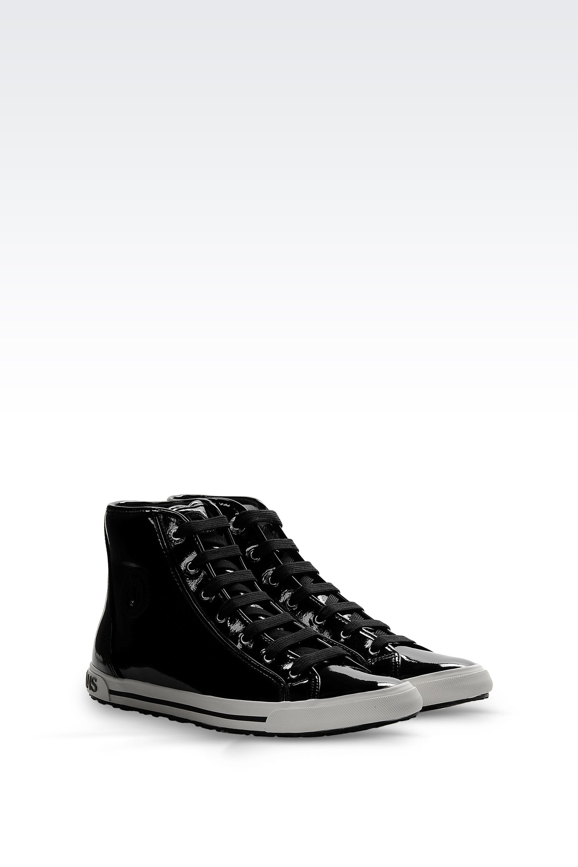 lyst armani jeans hightop sneaker in black. Black Bedroom Furniture Sets. Home Design Ideas
