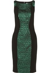 Badgley Mischka Twotone Jersey and Brocade Dress - Lyst