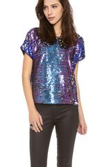 Blaque Label Short Sleeve Sequin Top - Lyst