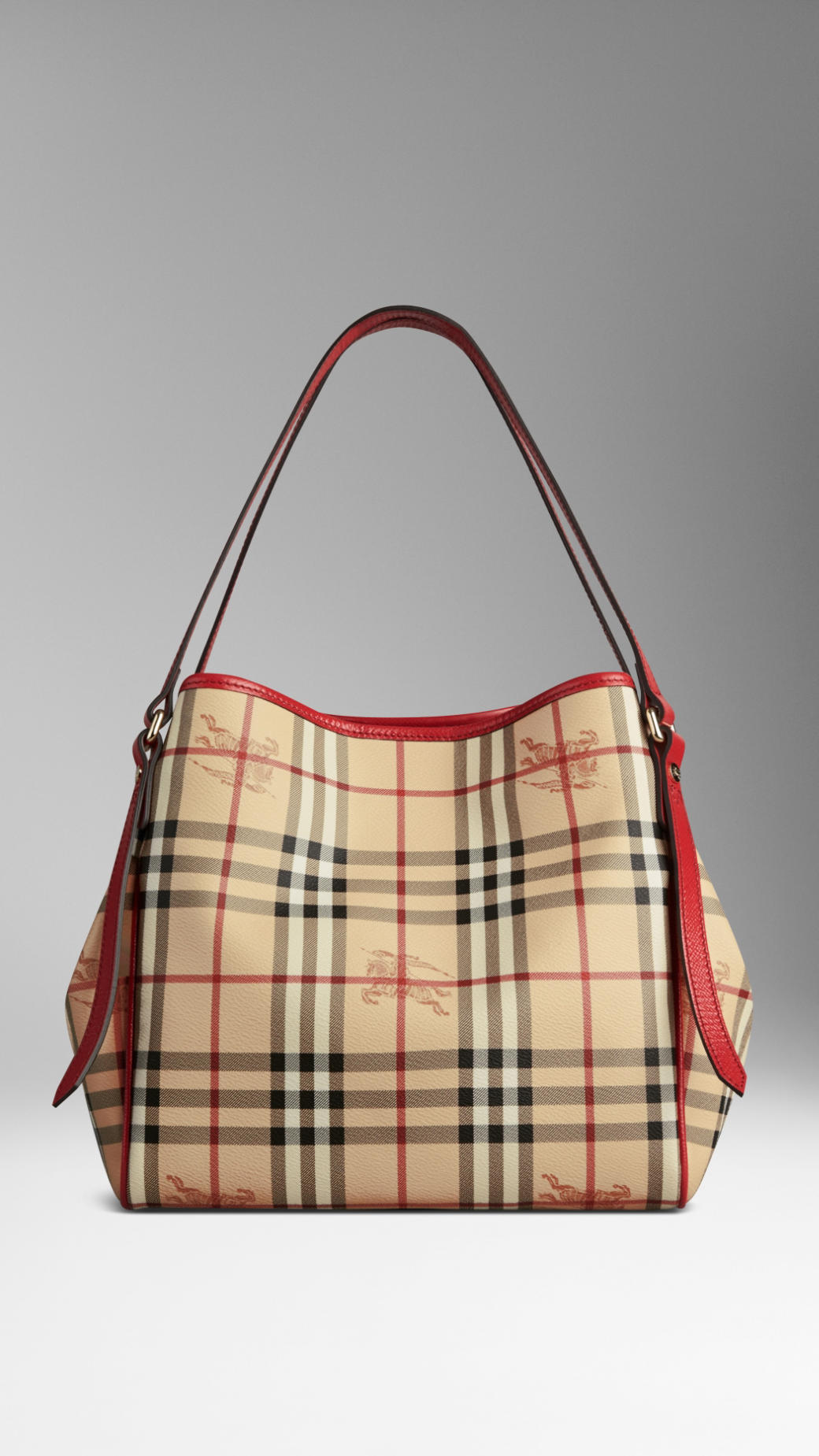Lyst - Burberry Small Haymarket Check Patent Trim Tote Bag in Red b3acbcc584d5c