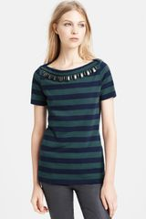 Burberry Brit Embellished Boat Neck Cotton Top - Lyst